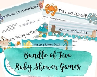 Baby Shower Games; Sea Animal Baby Games; Under the Sea Shower Games; Baby Games; Shower Games; Game Bundle; Baby Shower Game Bundle