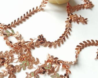 Chain chevron or pink gold plated brass spike