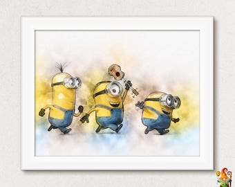 Minion Wall Art Print Poster Nursery Decor Despicable Me Minions Printable Watercolor Illustration Download Birthday