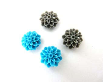 4 flowers Dahlias resin