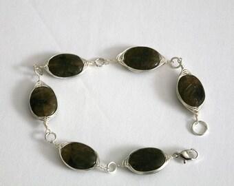Labradorite Wire Wrapped Bracelet