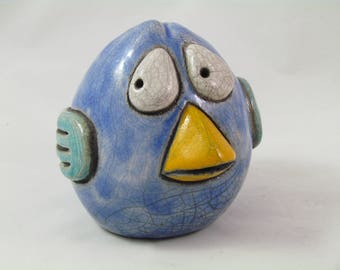 Raku firing enamel BIRD sculpture