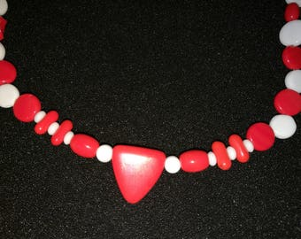 136. Red and White Beaded Necklace