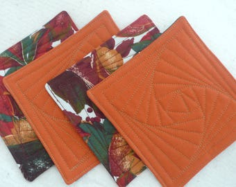 Thanksgiving Quilted Coasters for Fall, Autumn, Hostess Gift, Housewarming Gift (set of 4)