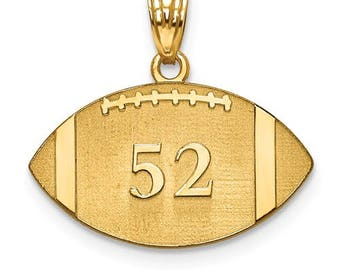 "Personalized Gold Plated over Sterling Silver Free Name And Number Laser-Engraved Football Pendant Charm 1"" x 1"" Free 16,18, or 20"""