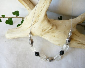 White and black wire necklace
