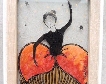 """Stained glass frame - """"Hortense"""" (1) - 13 * 18 cm"""