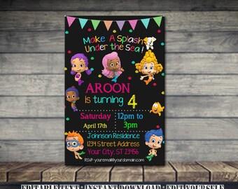 Bubble Guppies Invitation,Bubble Guppies Birthday,Bubble Guppies Birthday Invitation,Bubble Guppies Party,Bubble Guppies EditableSL32