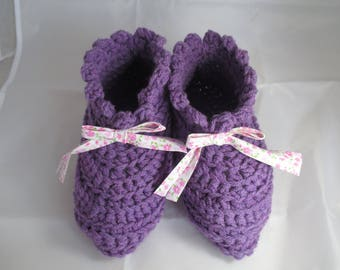 Purple slippers 37/38/39 or night crochet wool, mothers day gift