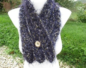 Purple scarf for women with a button, mothers day gift