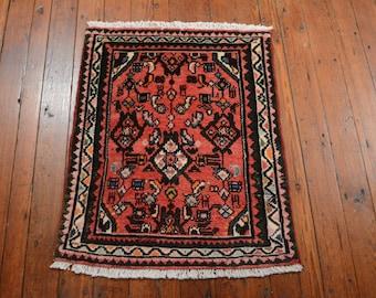 Vintage Persian Hamadan Rug, 2'x2'6'', Red/Ivory, All wool pile