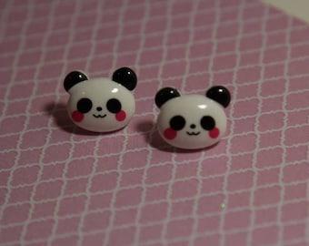 Cute kawaii panda silver plated stud earrings