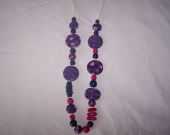 Long necklace made of polymer clay purple and fuchsia, designer jewelry
