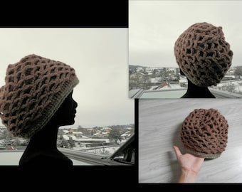 Hat NET Honey Brown and green border