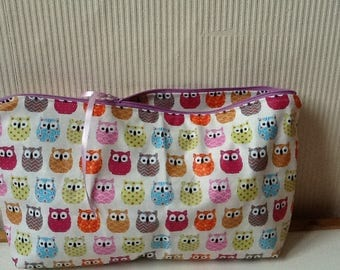 Large toiletry bag in coated cotton
