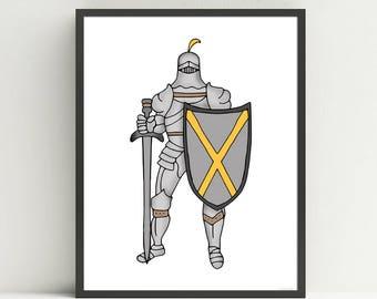 Knight Art Print, Kids Wall Art, Nursery Art Print, Boys Bedroom, Children's  Medieval Decor, Fairy Tale art