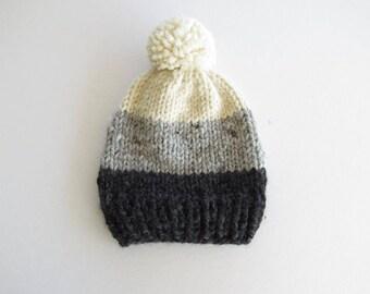 Ombre Knit Hat With Pom Pom