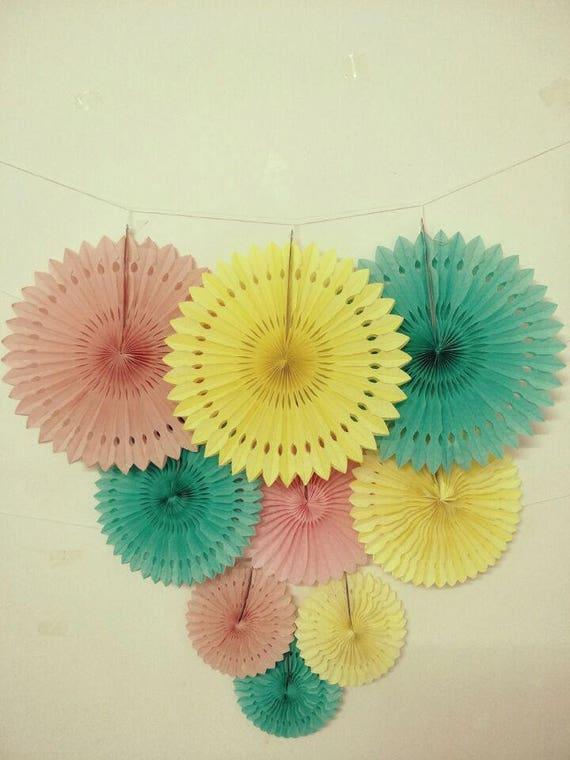 Mint 7pcs Unicorn Conical Gradient Color Makeup Brushes: 9pcs Mint Green Yellow PinkHanging Paper Fan Decoration