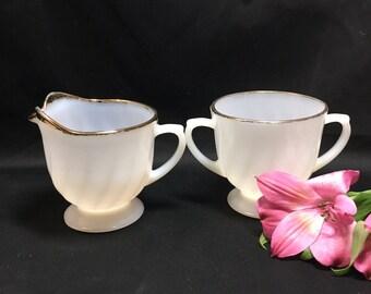 Creamer and Sugar Bowl - Fire King Anchor Hocking Milk Glass Gold Rim swirl Suburbia