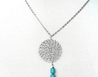 Boho feather pendant necklace