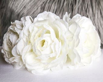 White Peony Pet Flower Crown