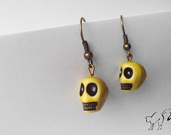 Bronze Pearl Earrings skull / skull yellow
