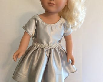 "Gray Satin Dress for 18"" Doll"