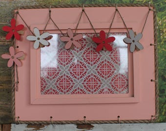 "Decorative door frame card ""Rose Printemps"" / Ornamental frame carries card ""pink spring"""