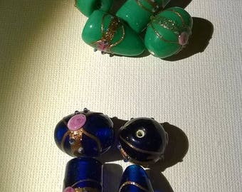 Set of 10 Lampwork beads in shades of green and blue
