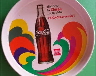 Disfrute Coca-Cola Serving Tray: round tray with Spanish writing. Reg SSA #4598