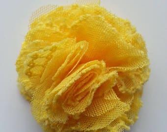 fleur gauffrée jaune  70mm