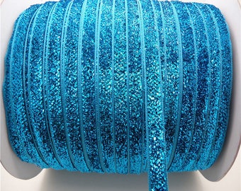 (X 1 meter) turquoise glitter Ribbon