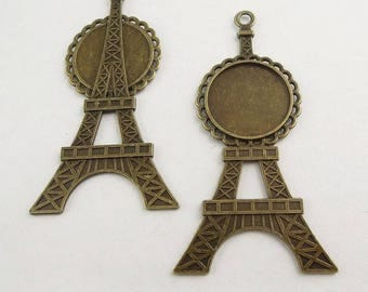 Support bronze metal (x 1) Eiffel Tower cabochon pendant