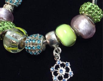 Pastel Paradise Handmade Charm Bracelet for her with glittering charms / Love heart Dangle Charm / Lampwork Murano Glass Beads