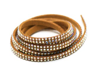 1 meter suede rhinestone, light brown, 5 mm x 1, 5mm