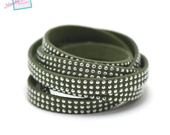 "1 meter suede ""studded 3 rows"" 8 x 2 mm, olive green"