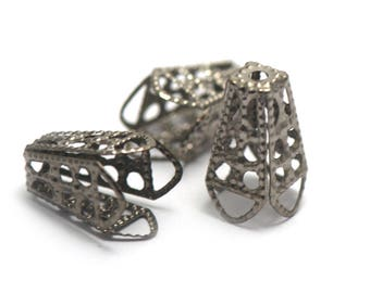 20 bead caps filigree 16 x 10 mm, gun metal