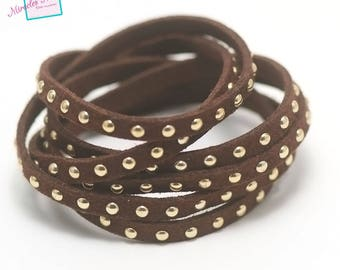 "1 meter suede ""studded gold"", 5 x 2 mm, Brown"