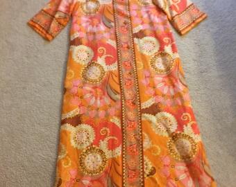 1960s Mod CAFTAN LOUNGE ROBE Hostess Gown