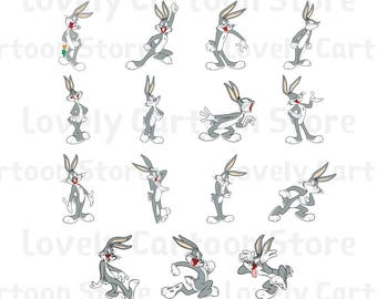 Bugs Bunny Svg, Eps, Dxf and Png formats - 15 Cliparts - Digital Download