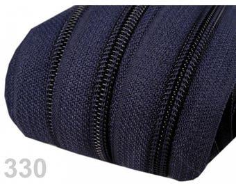 zipper at the meter Blue Navy mesh 5 mm spiral