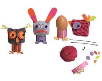 Kit tricot enfant : Coquetiers avec chapeaux à tricoter / kit créatif pour Pâques