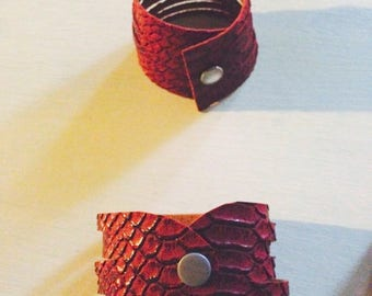 Red dragon leather cuff