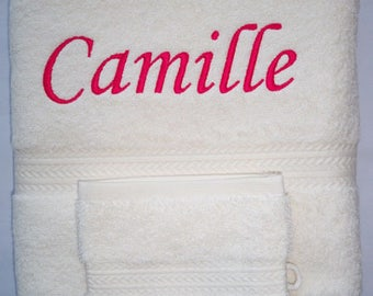 Bath towel embroidered with a name