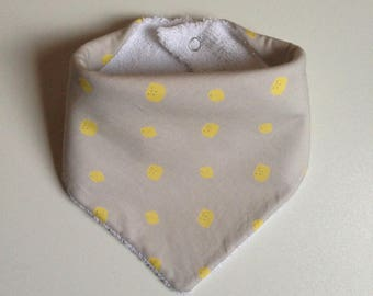Bib - beige bandana with lemons and white Terry cloth