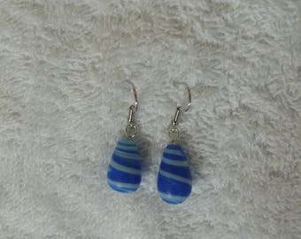 Blue and White Pearl Earring