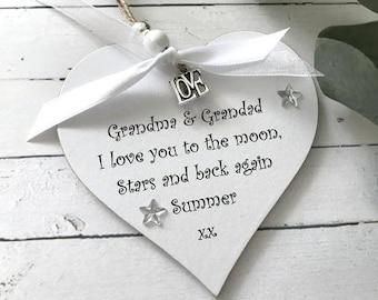 Personalised Grandma Grandad Nana etc Heart Gift/keepsake P104