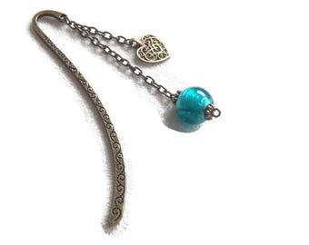 Bookmarks in antique bronze / Blue Bead/charm
