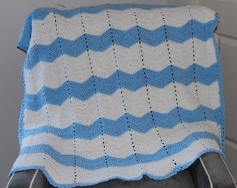 Blue & White Crocheted Chevron Blanket
