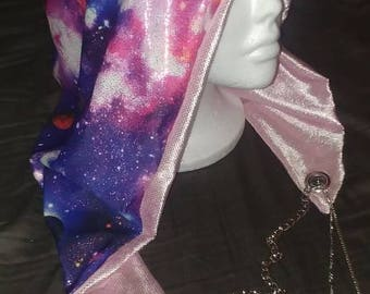Metallic Holographic Galaxy Reversible Chained Festival Hood - pink purple - stash pocket - burning man electronic music rave fashion hood